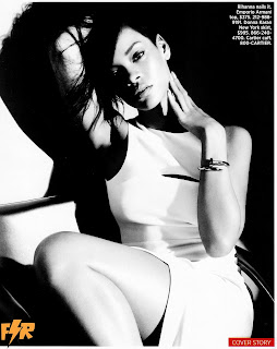 black and white image with Rihanna in a white dress sitting in a chair