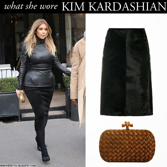 what she wore kim kardashian in black leather top with