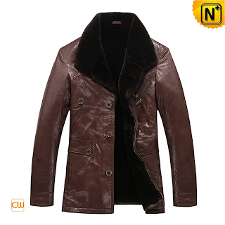 mens brown sheepskin coat