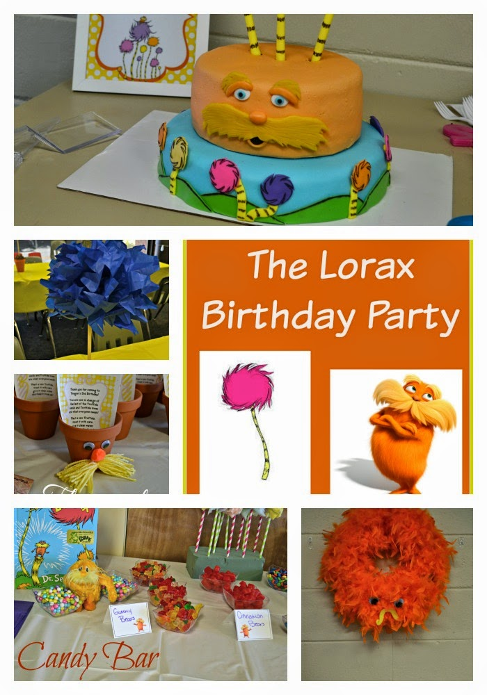 Lorax Birthday Party Ideas, The Lorax birthday party, Dr. Seuss parties, Lorax Party decorations, Truffula Tree centerpieces, Truffula Tree cotton candy, Cotton Candy Truffula Trees, Lorax Wreath, The Lorax Wreath, Lorax Decorations, Lorax Flowerpots, how to make Lorax Flowerpots, Dessert Bar, Candy Bar for birthday parties.