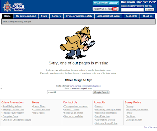 Screenshot of the soft 404 page on the Surrey Police website