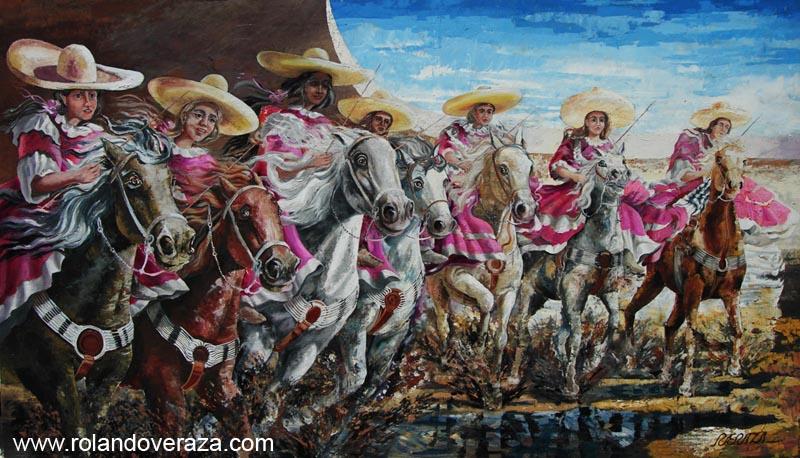 Pintura por Rolando Veraza de un equipo de escarmauzas montando sus caballos