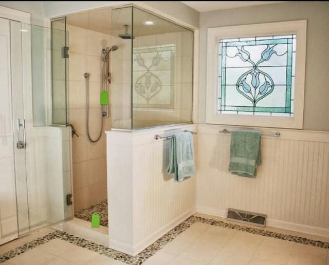 Bathroom Tile Floor Height : Management chair design idea half height tiled shower