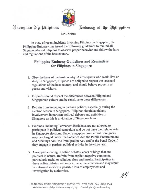 Jels singapore life my friend forwarded an email containing this reminder coming from philippine embassy in singapore kababayan fyi stopboris Gallery