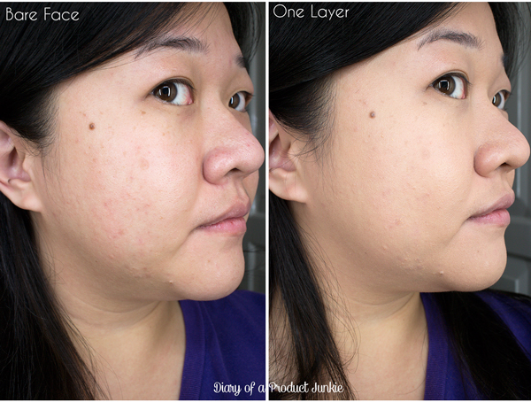 Before and after photo of Bless healthy glow foundation