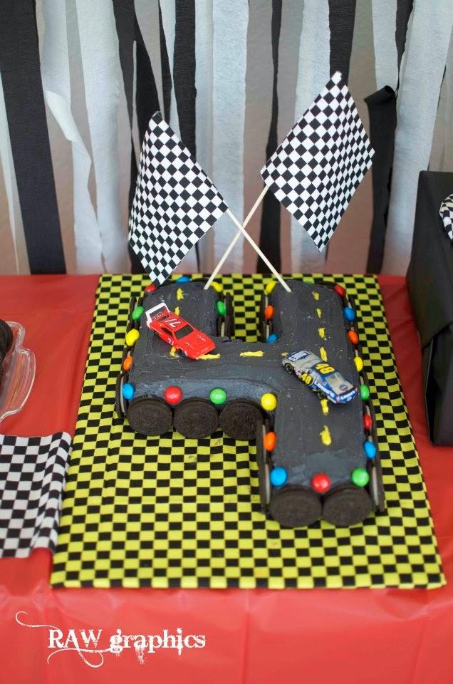 M&M racecar party racetrack cake