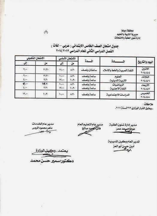 جدوال امتحانات الترم الثانى 2014 محافظة دمياط جميع المراحل الدراسية 10245397_55711248773