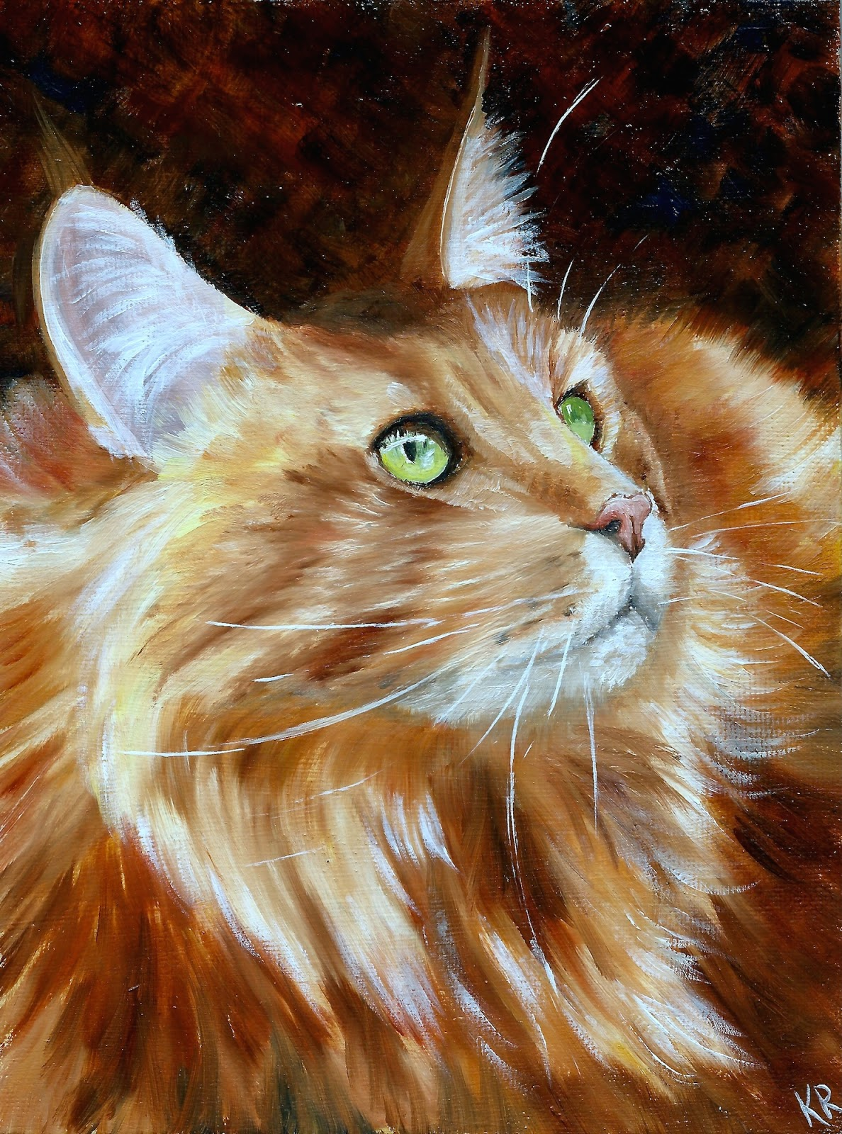 Oil painting of a Maine Coon cat  by Pet Portraits by Karen