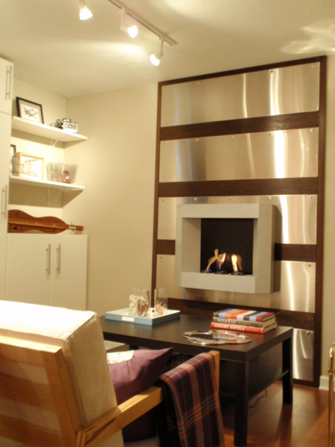 home udden stainless steel fireplace wall