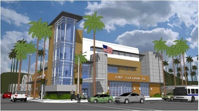 Architect Rendering of New LAFD Fire Station 82 in Hollywood