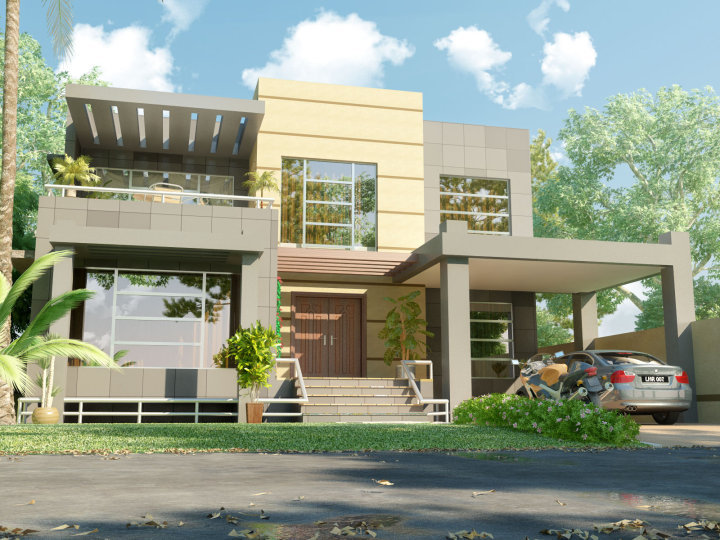 3D Front Elevation.com: Beautiful Modern 1 Kanal Home 3D Front ...