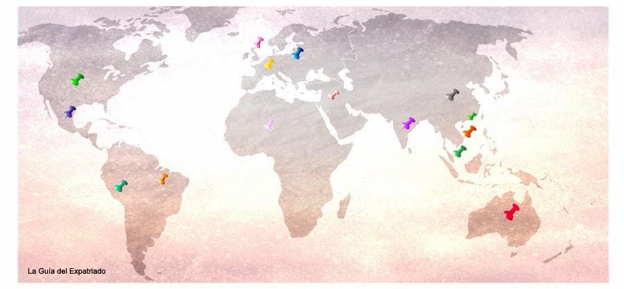 Donde están los expatriados españoles