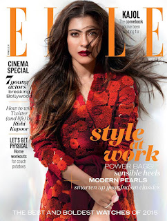 Kajol Looks Stunning for Elle India Magazine Cover Page August 2015 Issue
