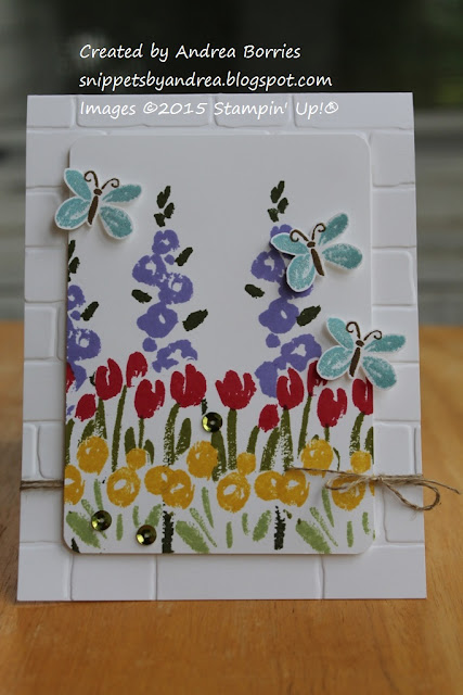 Card made with Spring Garden stamp set and Brick Wall embossing folder.