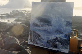 plein air seascape in oil by Andy Dolphin on location