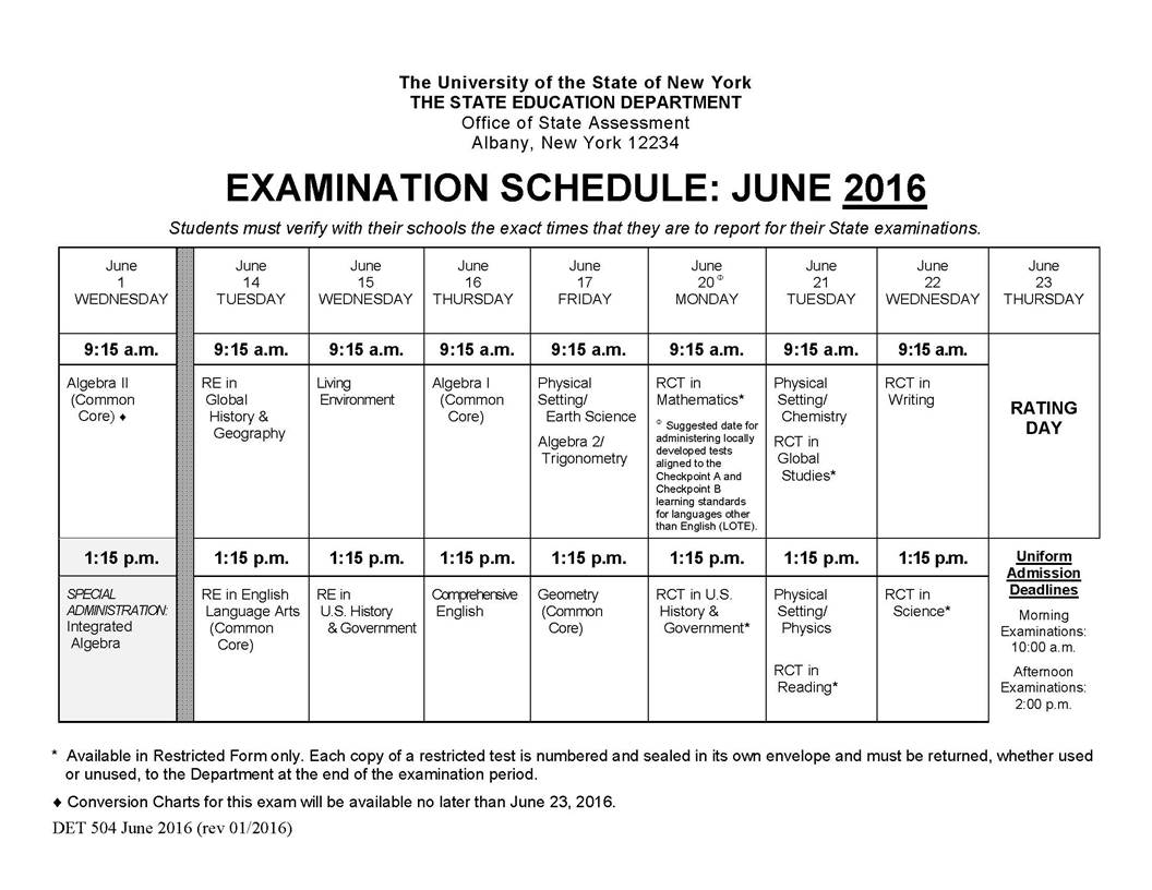 Loma News June 2016 Regents Exams Revised