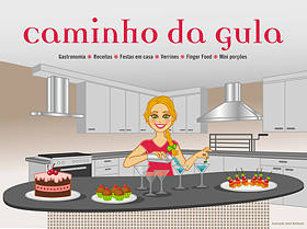 Ilustrao para cabealho de blog com personagem + ao + elementos de apoio + cenrio + ttulo