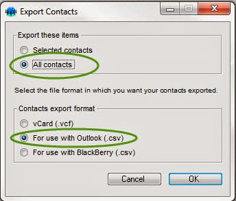 Export all contacts for use with Outlook (.csv)