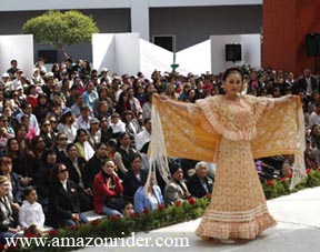 Shows a rebozo, or shawl, at a fashion show about the history of the rebozo in Toluca, Mexico