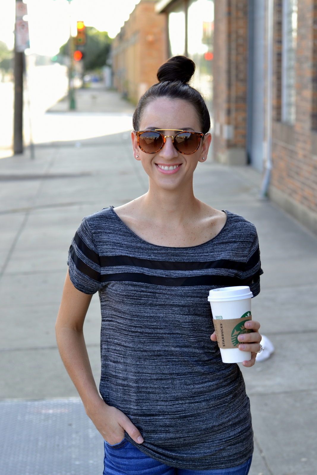 Black tee, Top Knot, Shein, Starbucks, Pink lips