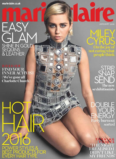 Miley Cyrus Marie Claire UK Magazine January 2016 Photos