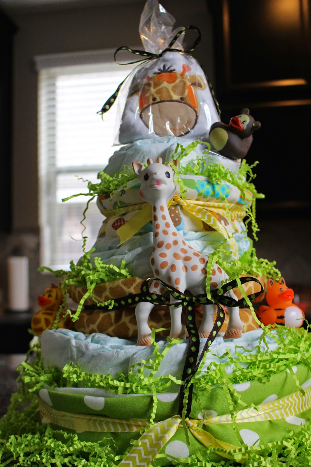 Sophie Giraffe Zoo Animal Diaper Cake