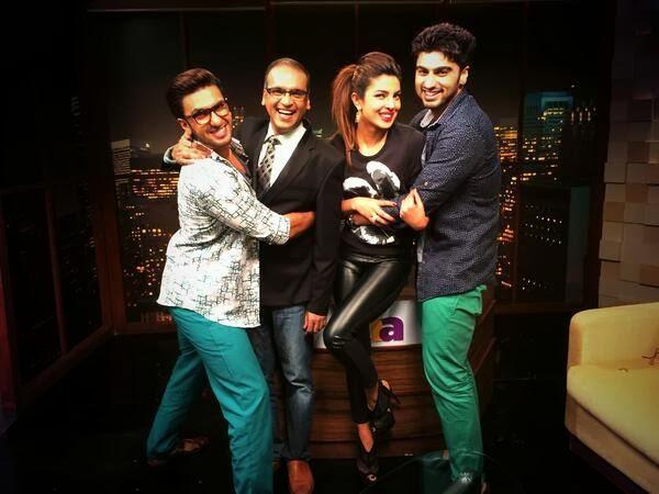 Arjun Kapoor, Priyanka Chopra and Ranveer Singh with Komal Nahata