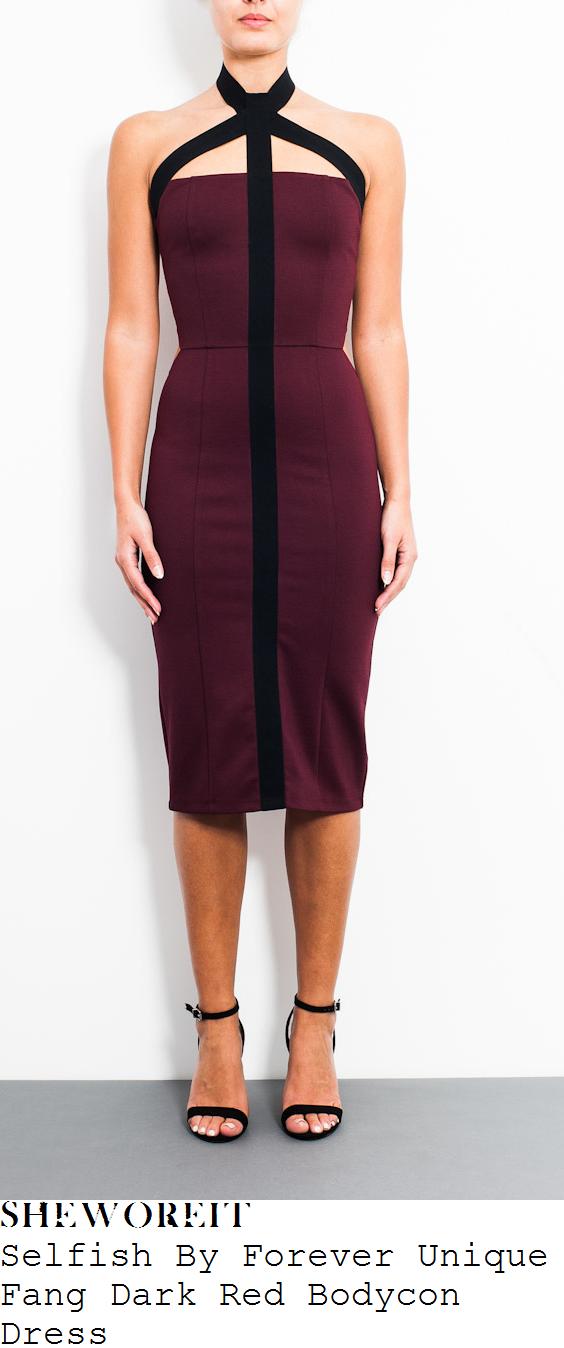 brooke-vincent-burgundy-purple-dark-red-and-black-strap-detail-halterneck-sleeveless-midi-dress