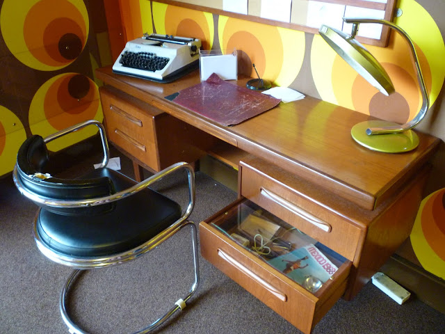 1969 living room desk typewriter office via lovebirds vintage
