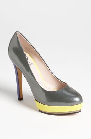 Gray And Yellow Heels