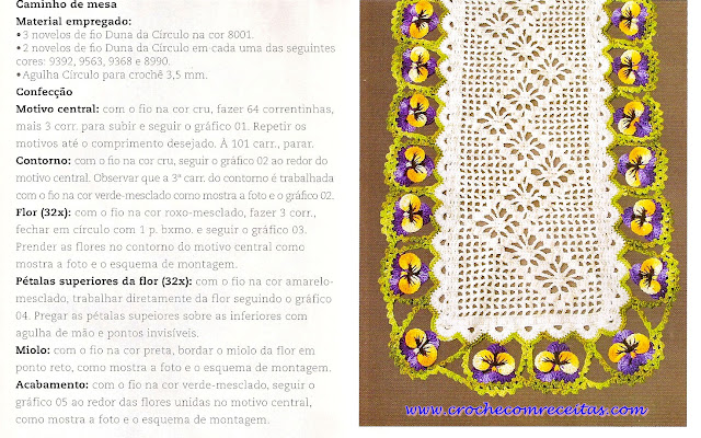 caminho de mesa em croche croche com receitas