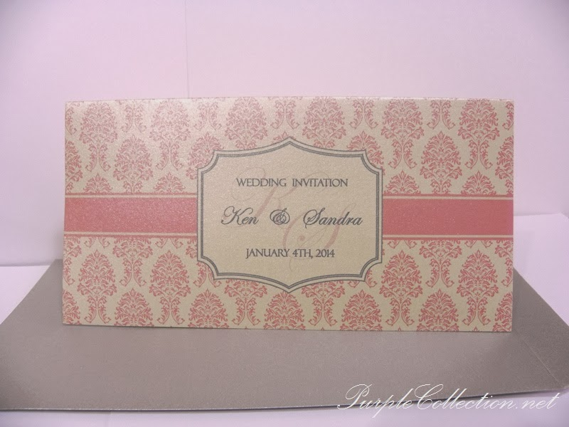 pink damask, pearl silver, wedding card, invitation, western, chinese, singapore, malaysia, KL