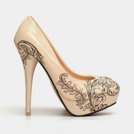 Floral Tattoo Shoes.Tattooed High Heel Pumps. Tattooed Nude Woman's Shoes