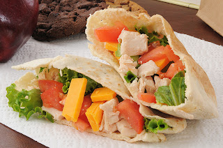Chicken and vegetables in a pita pocket