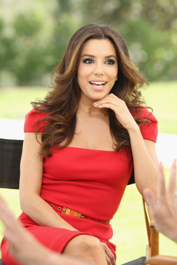 Eva Longoria in a red dress at NBC Universal press day 2012