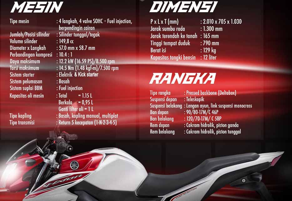 Berikut ini Spesifikasi Lengkap New Yamaha Vixion 2013 :
