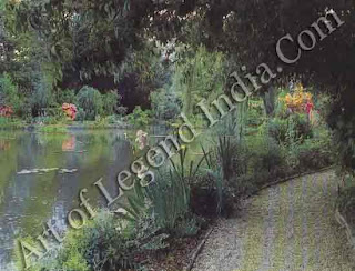 The water garden, At the foot of the gently sloping flower garden, Monet created a beautiful water garden in the Japanese style. He enlarged a small pond by diverting the tiny River Ru into the garden, then filled the pool with aquatic plants and waterlilies.
