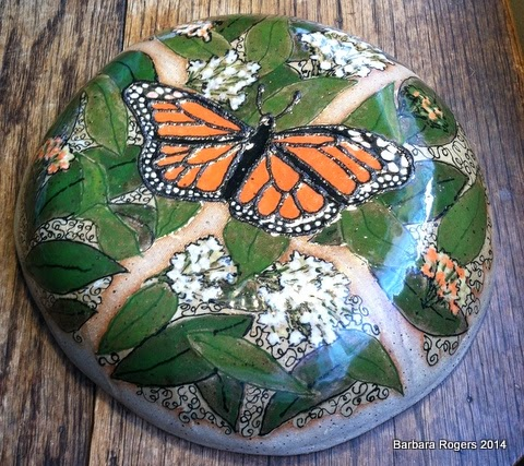 Butterfly wall-pillow, 10 inches diameter by 3 inches deep