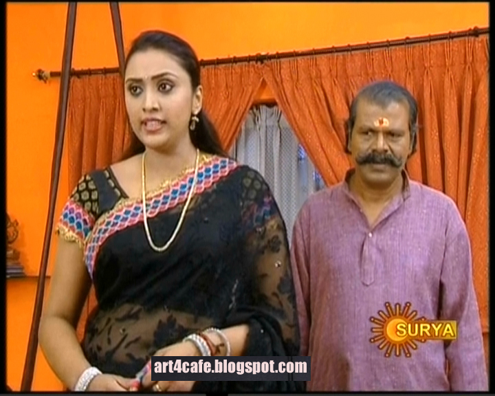Serial Actress Surya TV Serial Geethanjali Actress Meghana in Saree