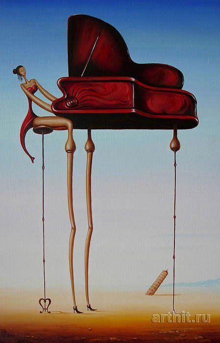 Gennady Privedentsev pinturas arte surreal Tocando piano