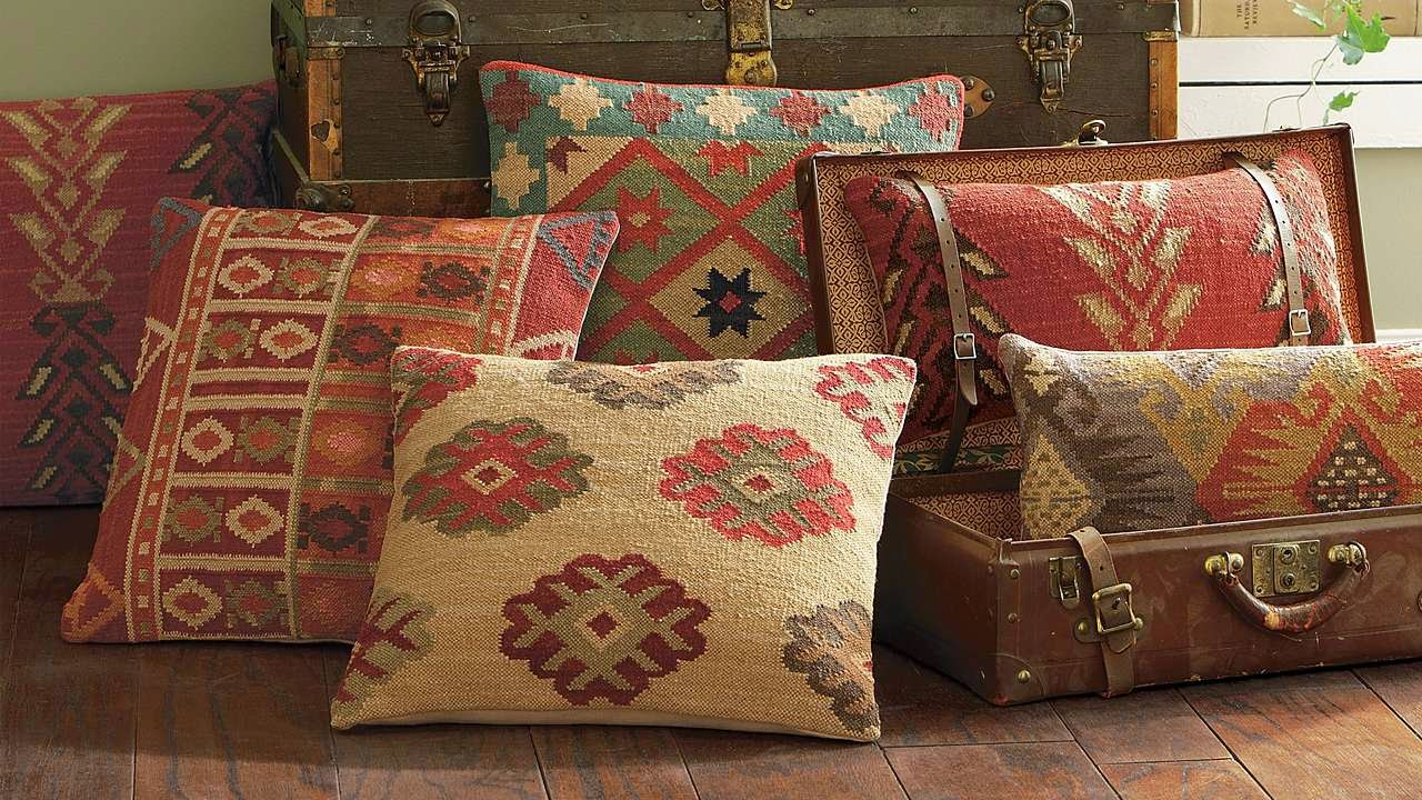 Kilim throw pillows from Grandin Road-www.goldenboysandme.com