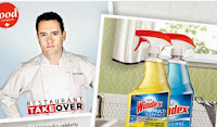 Win Dinner plus a windex clean up image shows Celeb chef and Windex