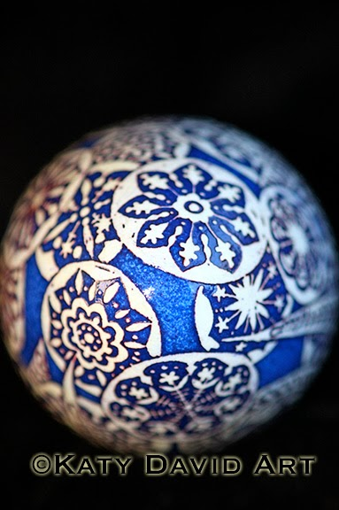 Etched Goose Egg Pysanka in Cobalt and White, Moonlight Garden
