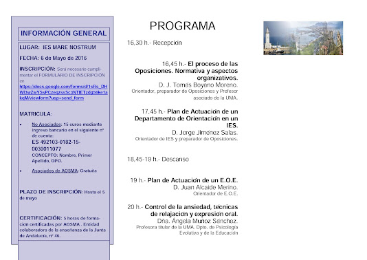JORNADA DE PREPARACIÓN DE OPOSITORES DE ORIENTACIÓN EDUCATIVA. AOSMA MÁLAGA.