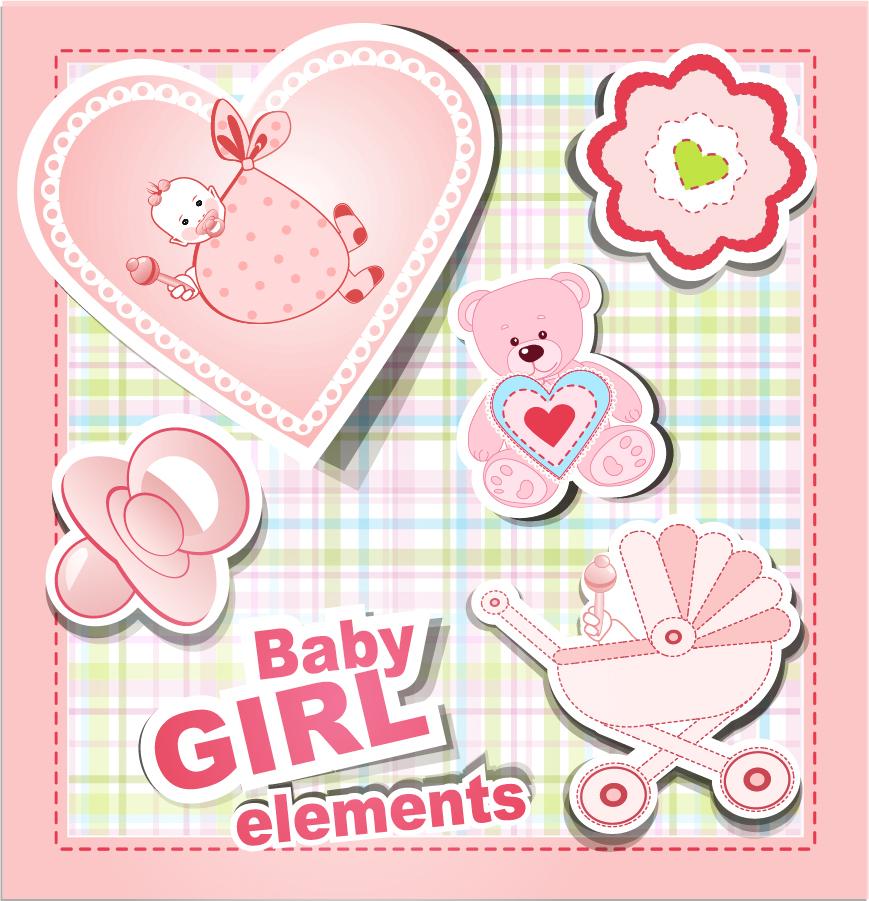 赤ちゃんをテーマにしたクリップアート cartoon baby stickers vector イラスト素材1