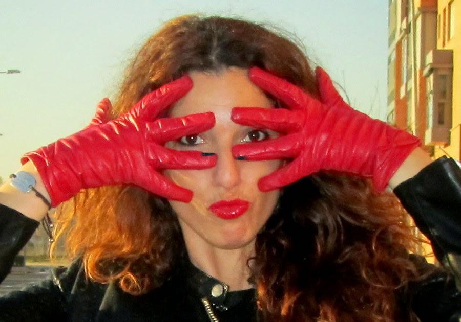 guantes piel rojos