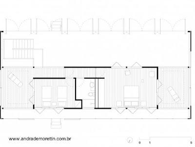 Plano arquitectónico de la planta alta de la vivienda