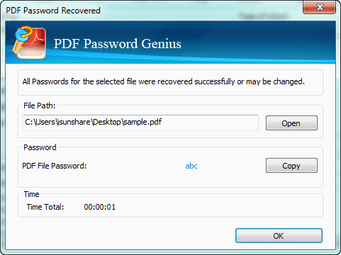 find secured PDF document open password