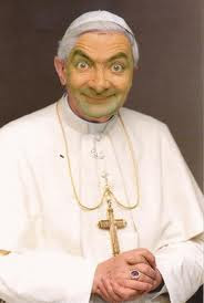 Mr. Bean dressed up as the Pope