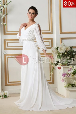 My Favourite Is This Dress Tidebuy Product Glamorous Empire V Neck Court Train 3 4 Length Sleeves Talines Wedding 1977372